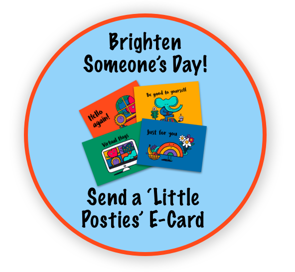Brighten someones Day, send an e-card button, with images of postcards