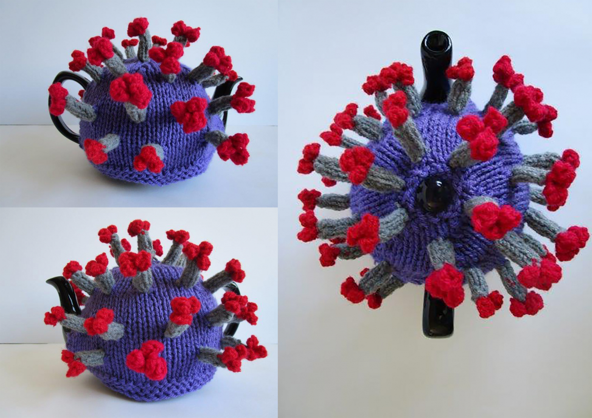 Knitted sculptural balls with spikes to replicate the Covid-19 Virus