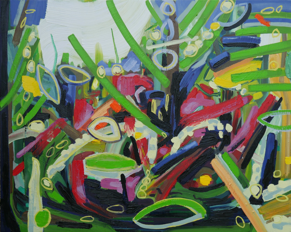 Vibrant abstract oil painting in greens, reds and blues.