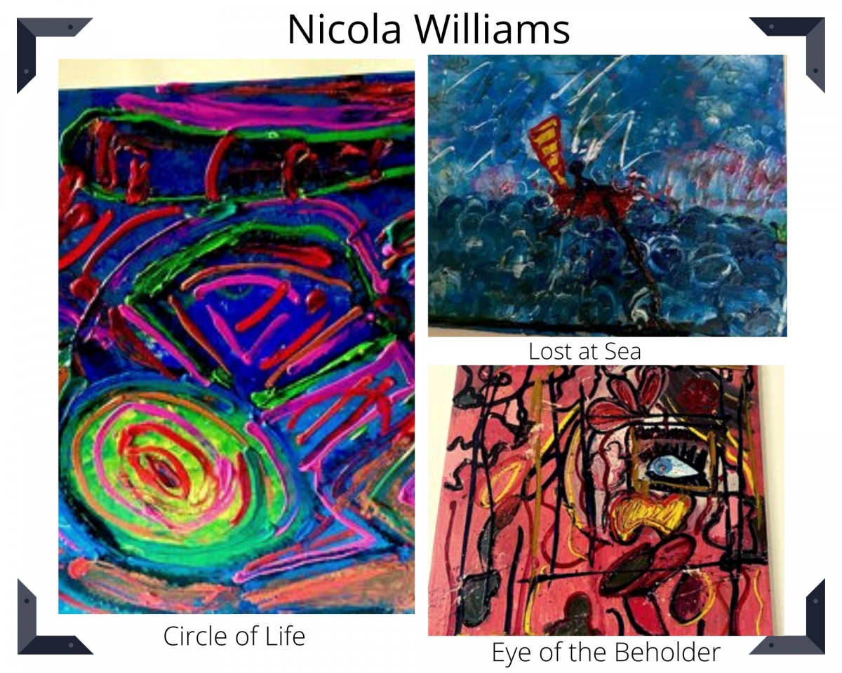 Photo collage of 3 images by Nicola Williams.  Expressionist in nature using oils, acrylics and resin