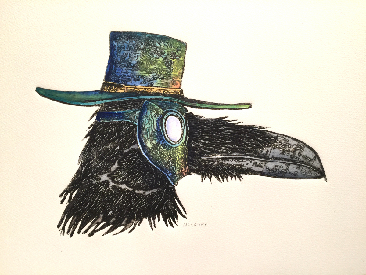 Startling image of a raven or black bird wearing a purple hooked plague mask on its face.