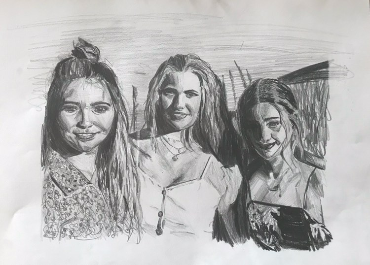 Sun in our Eyes' high contrast pencil drawing by @abbyconroy_art and features 3 teenage girls smiling at a camera with reeds and rushes in the background