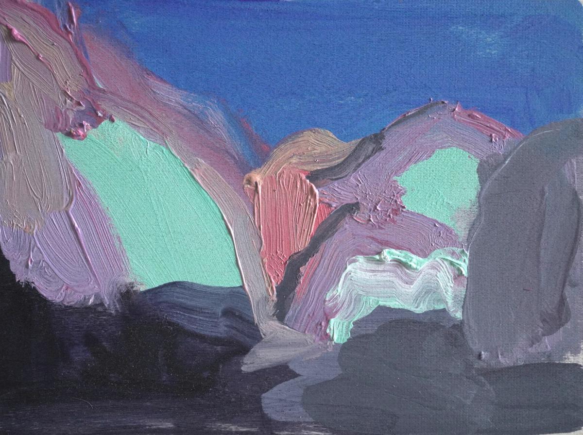 Coloured Rocks by Fine Artist Lisa Ballard - Pinks, blues and black landscape of rocky peaks against a dusky sky